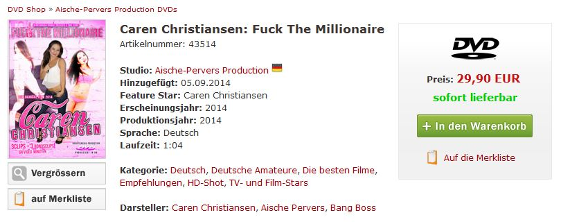 caren christiansen dvd fuck the millionaire